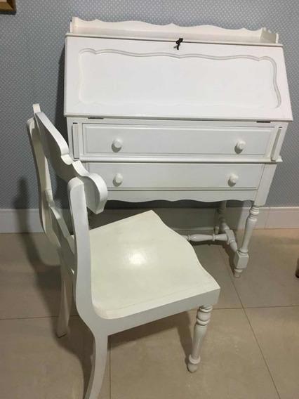 Escrivaninha Antiga Modelo Secretaria Com Cadeira