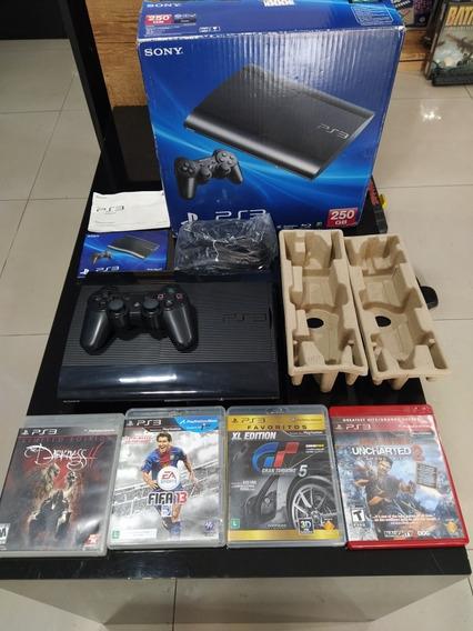 Playstation 3 Ps3 Super Slim 250gb Com 1 Controle E Caixa