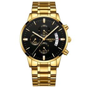 Relógio Nibosi Original Masculino Funcional Dourado Promoção