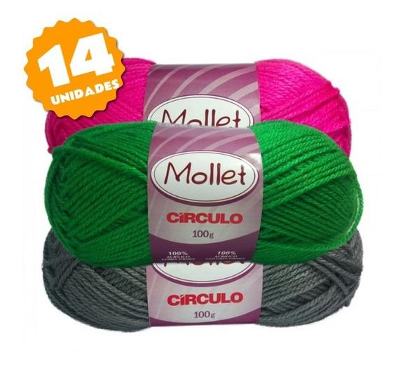 Lã Mollet 100g - Kit 14 Unidades