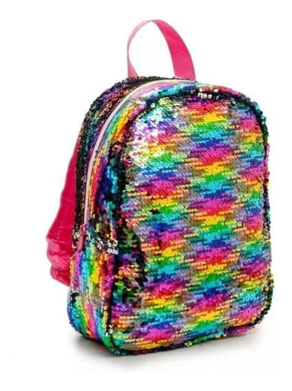Mochila Escolar Lentejuelas Reversibles Colores Correa Cuota