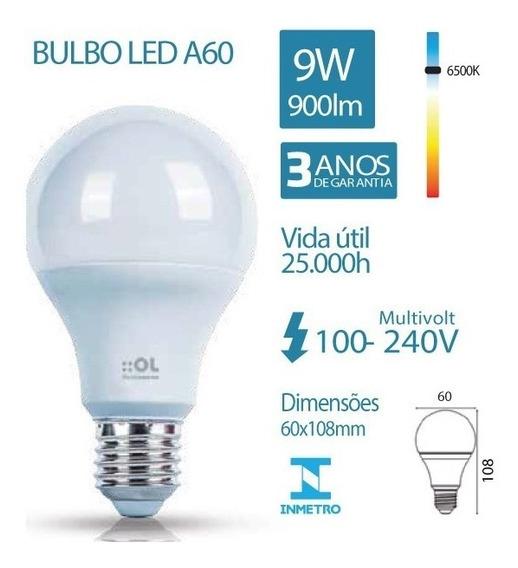 Kit 5 Lampada Led Bulbo 09w E27 Branca 6500k Bivolt Cod:1435