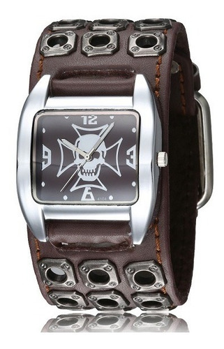 Relógio Masculino Bracelete Punk Caveira Pulseira Couro Rock