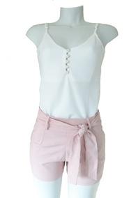 2 Conjuntos Feminino Shorts Laço Moda Blogueira Regata