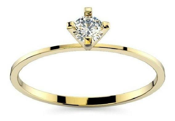 Anel Solitário Ouro 18k 750 - Zircônia