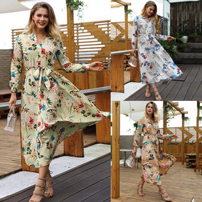Vestido Impresión Floral Boho Mujeres V Cuello Manga Largo