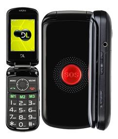 Celular Para Idoso Flip Botão Sos E Rádio Fm Dl Yc-130