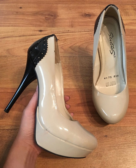 Padrisimos Zapatos Tacones Senties Nude Con Negro Originales