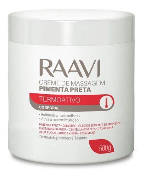 Creme De Massagem Pimenta Preta Termoativo 500g Raavi