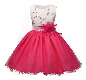 Vestido Infantil Festa Meninas Vermelho Rosa 2 A 8 Anos