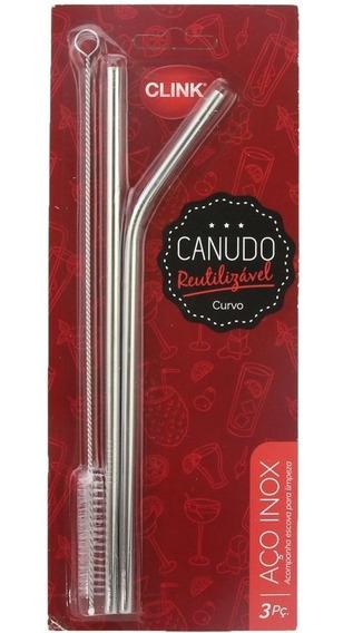 Kit 2 Canudos Aço Inox + Escova Reutilizável 26,5cm