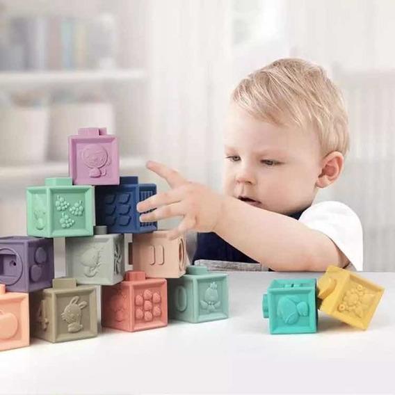 Bloco 3d Cubo Educativo Torre De Estimulação Bebê Brinquedo Pedagogico Infantil Cubo De Silicone