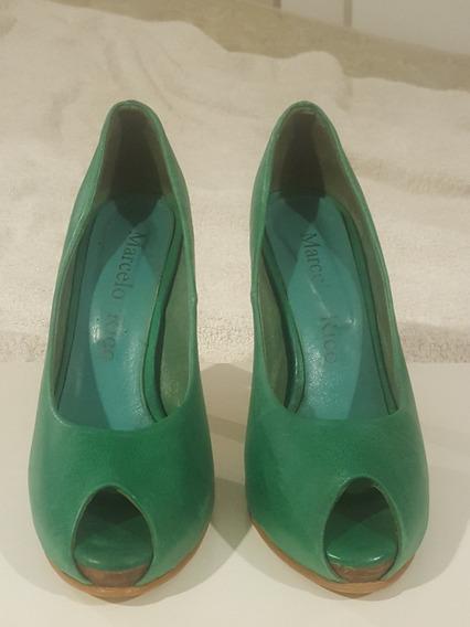 Zapatos Peep Toe Marcelo Rico Color Verde
