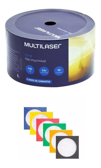 50 Envelope Papel Com Visor + 50 Cd-r Virgem Multilaser