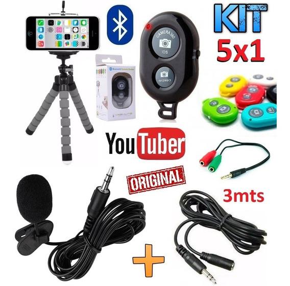 Kit Youtuber Microfone Lapela Celular iPhone Android + Tripé