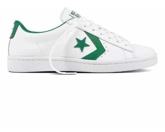 Converse Pro Leather 76 Ox Cuero Vacuno Blanco Con Verde