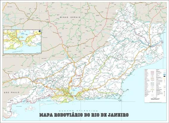 Mapa Político Rodoviário Rio De Janeiro 65x100cm Decoração