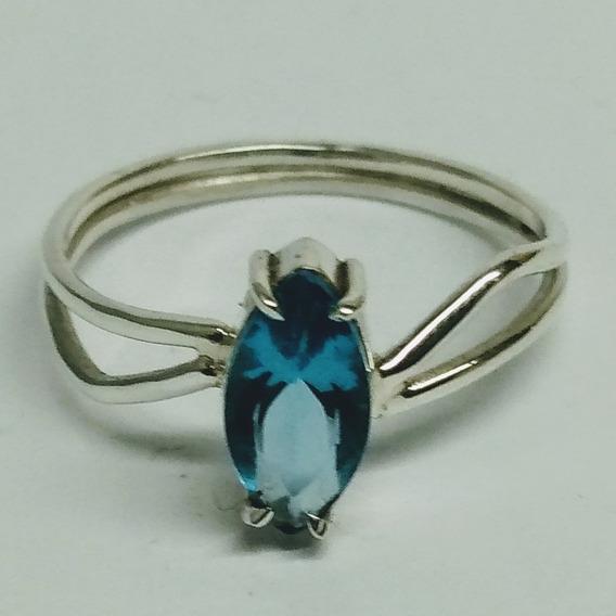 Anel De Prata 950 Com Pedra Topázio Azul Sky