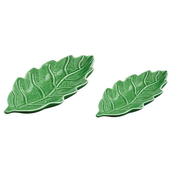 Jogo De Folhas Em Cerâmica Mart 2 Peças 22,5x10,5x3cm Verde