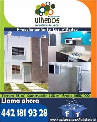 Casa En Venta En Viñedos, 2 Plantas, 2 Recamaras, T. 62 M2, C. 102 M2.