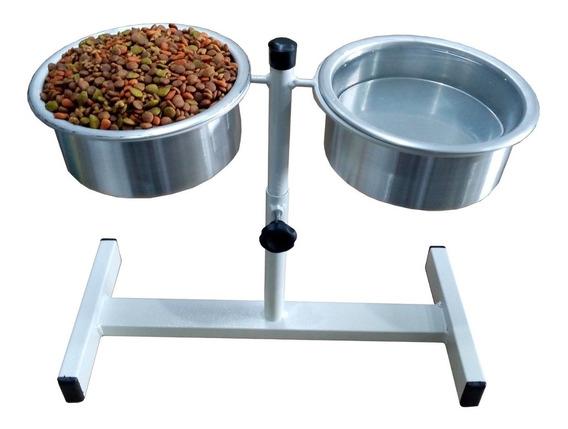 Comedor/bebedouro Suspenso Ajustável Para Cães/gatos Branco