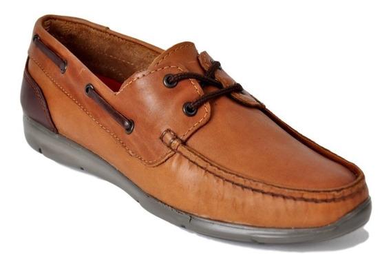 Zapato Mocasín Náutico Hombre De Cuero Campus 7328 Liviano