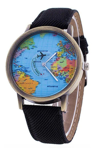 Reloj Mapamundi (negro)