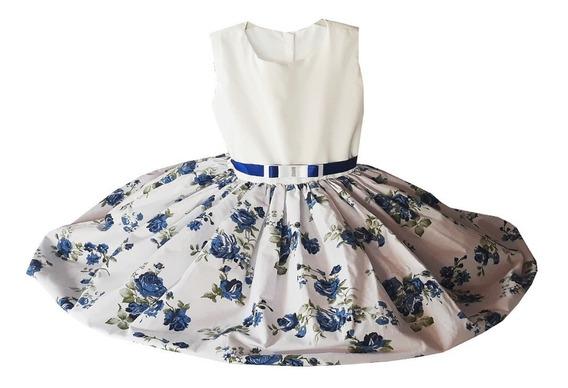 Vestido De Festa Menina Infantil Floral 100% Algodão 8 Anos
