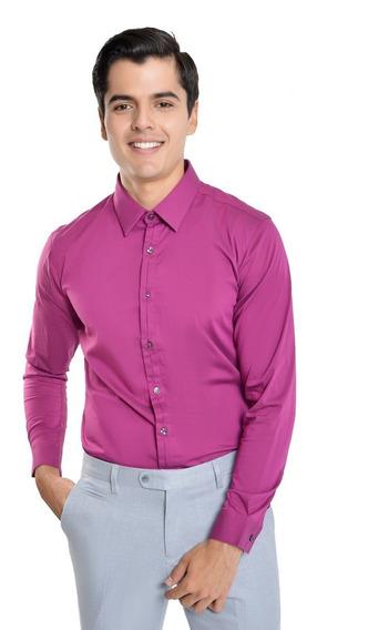 Camisa Hombre Manga Larga Fit Regular Color Violeta Lob