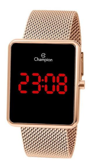 Relógio Champion Digital Ch40080p Rose Quadrado Led Vermelho