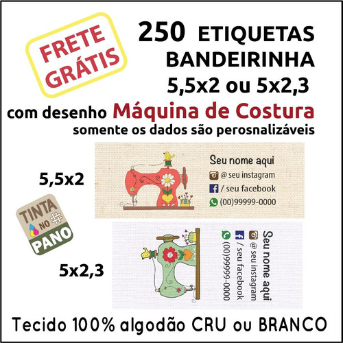250 Etiquetas Com Desenho Máquina De Costura Personalizadas.