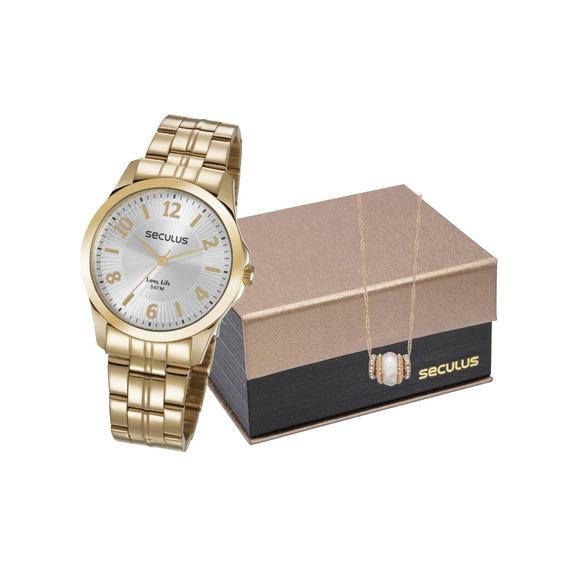 Relógio Seculus Feminino Analógico + Colar 28879lpsvda1k1