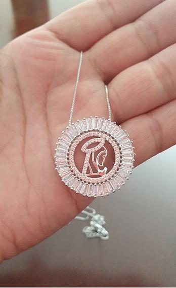 Colar Mandala Religioso Zircônias Cravejadas Ródio Prata