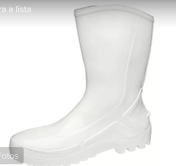 Bota Pvc Vulcaflex Branca Ou Preta Forro Interno, Pvc