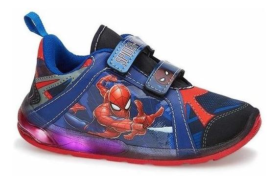Tenis Niño Hombre Araña Luces Led Velcro Ajustable Confort