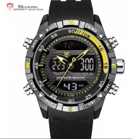 Relógio Masculino Shark Anadigi Sh-600 - Preto E Amarelo