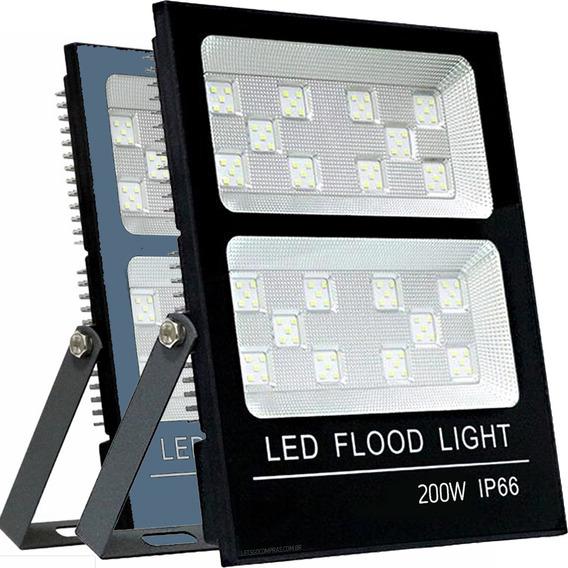 Refletor Led Holofote 200w Branco Frio 6000k Microled Smd Multifocal Proteção Ip66 A Prova D