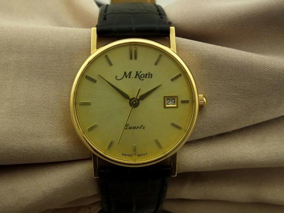 Relogio De Pulso M Korn Quartz Swiss Date Ouro 18k J22061