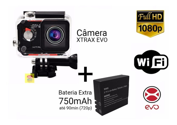 Câmera Ação Xtrax Evo 12mp Full Hd Wireless + Bateria Extra