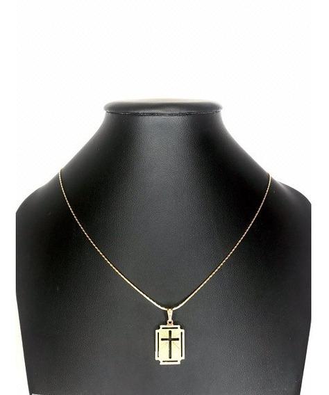 Colar Com Pingente Medalha Crucifixo Banhado A Ouro Amarelo