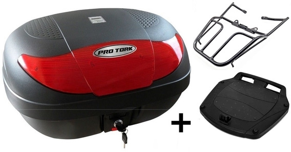 Bau Moto 45 Litros Pro Tork + Bagageiro Titan Fan Start 160