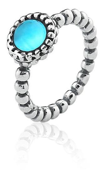 Anel Com Pedra Topázio Azul De Prata