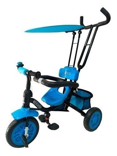 Triciclo Infantil De Metal C/direccion Capota Y Canasto 902n