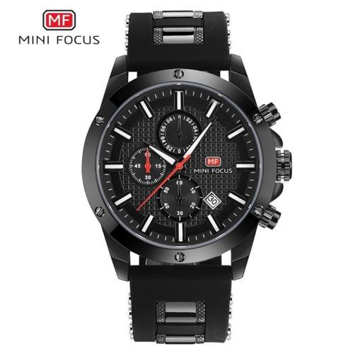 Relógio Masculino Borracha Preto Mini Focus Frete Grátis !!!