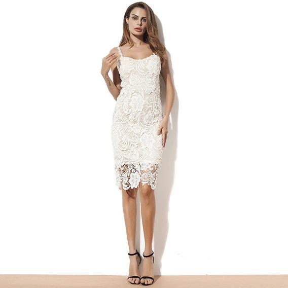 Vestido A La Rodilla Blanco Civil Encaje Importado