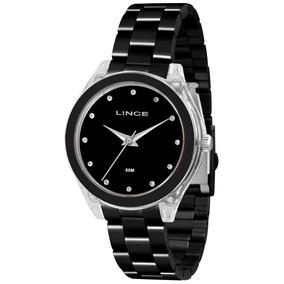 Relógio Lince Acrílico Preto Feminino Lrn4431p Original