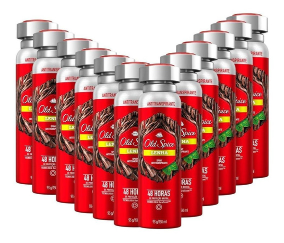 Kit 12 Desodorantes Antitranspirante Old Spice Lenha 150ml