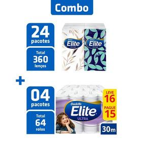 Combo Papel Higiênico Elite 64 Rolos + 6 Lenços 15 Fls Cada