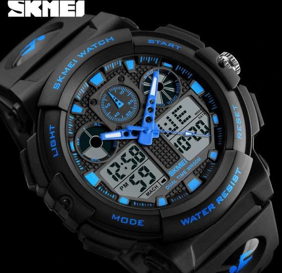 Relógio Masculino De Pulso A Prova De Aguá Digital Azul Novo
