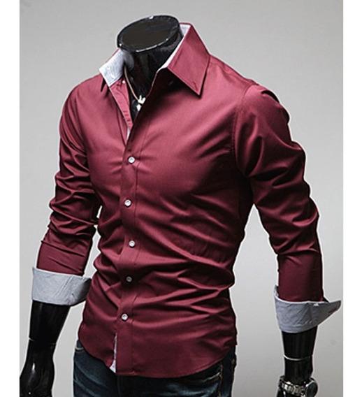Camisa Para Caballero Mod #02 Moda Slimfit Algodon